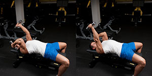 Alternating Lying Dumbbell Triceps Extension