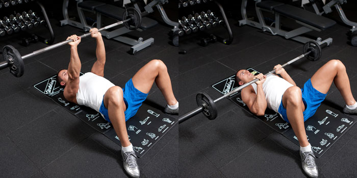 Floor Bench Press Close Grip Weight Training Exercises 4 You