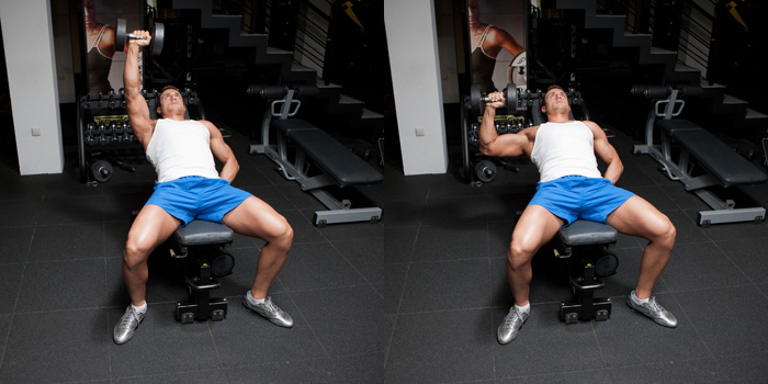 incline one arm dumbbell bench press weight training