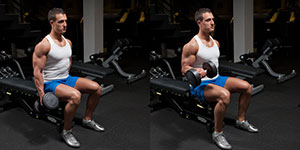 One Arm Seated Dumbbell Curl With Twist