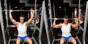 seated barbell shoulder press behind the neck  weight